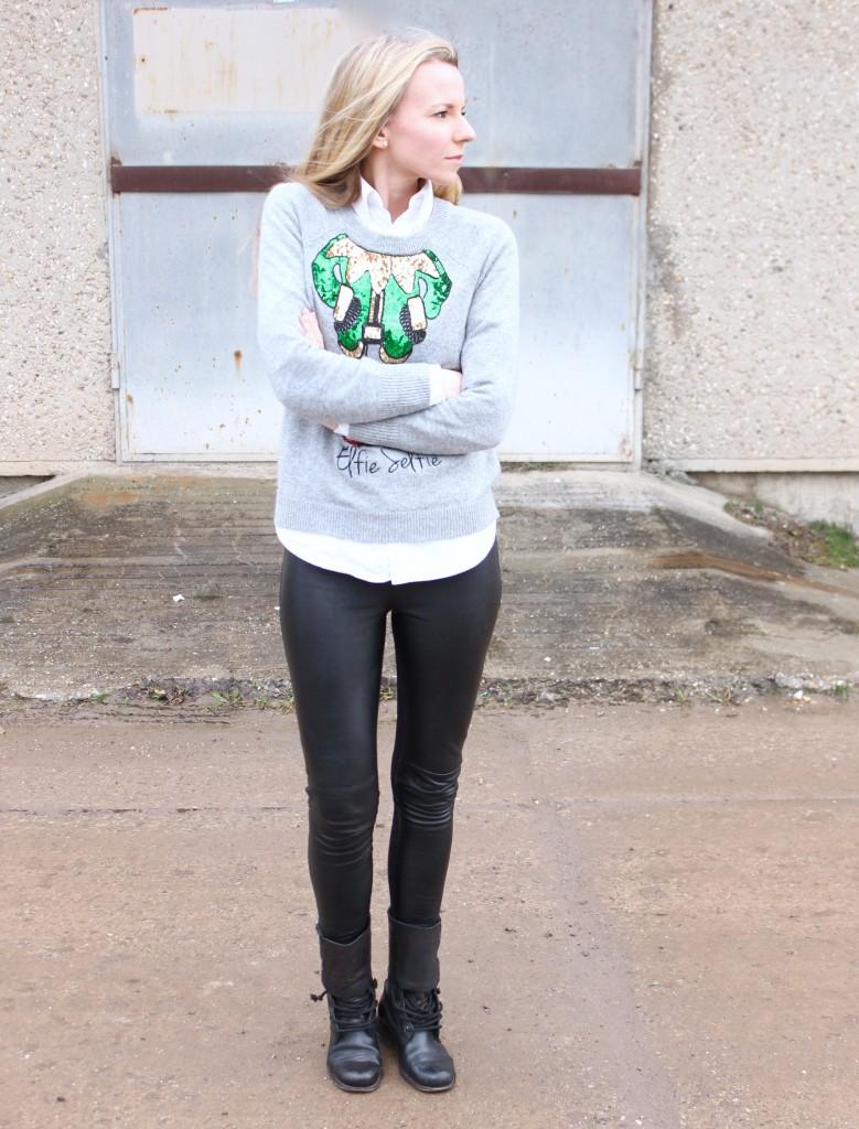 Elfie Selfie H&M Fashion Jennifer Pepper And Gold Outfit Weihnachtspullover
