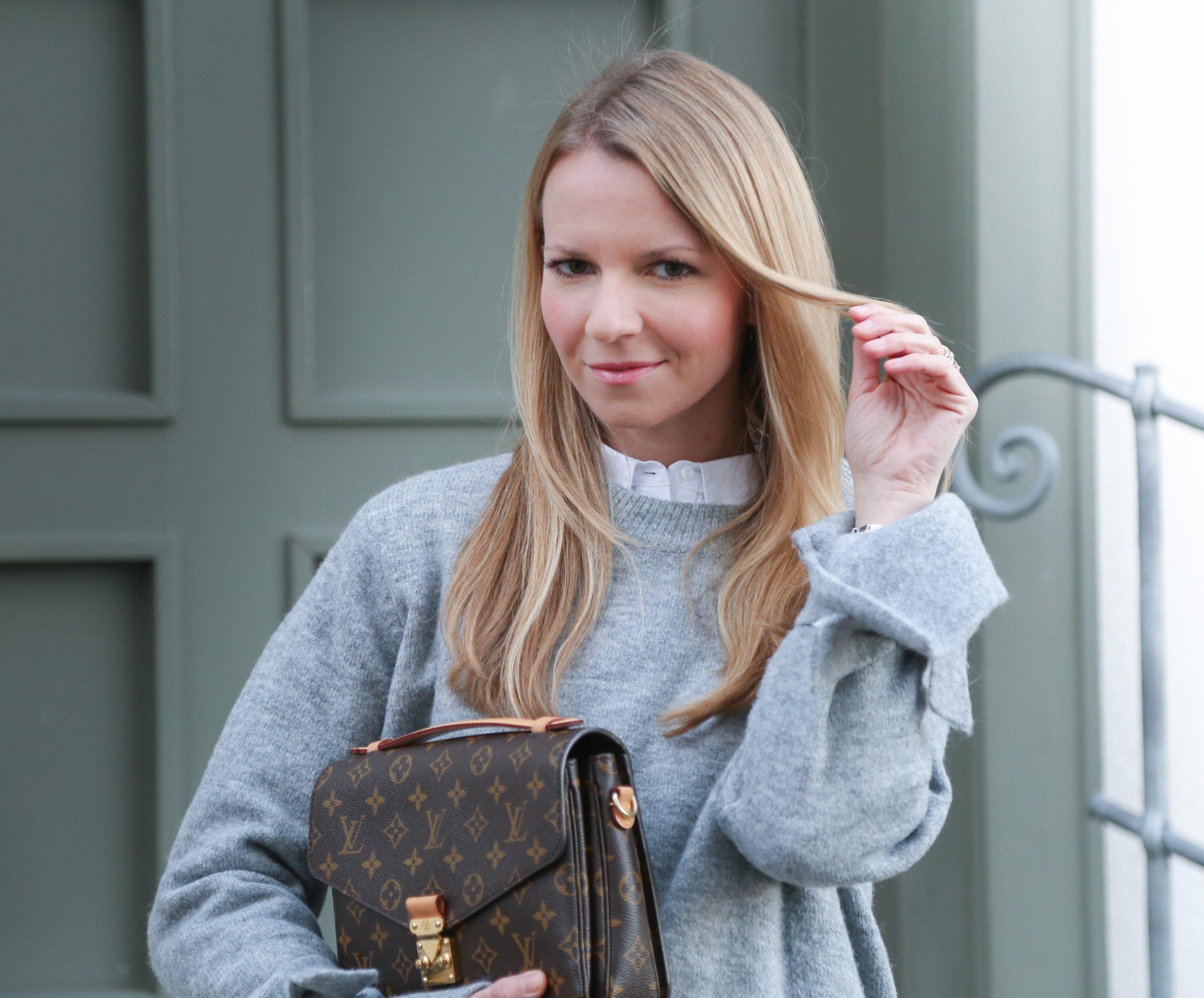 Oversize Pullover und die neue Levi`s 501 Skinny Zara Pumps Heels Outfit Look HighHeels Jennifer PepperAndGold LouisVuitton LV LVOE Metis Pochette