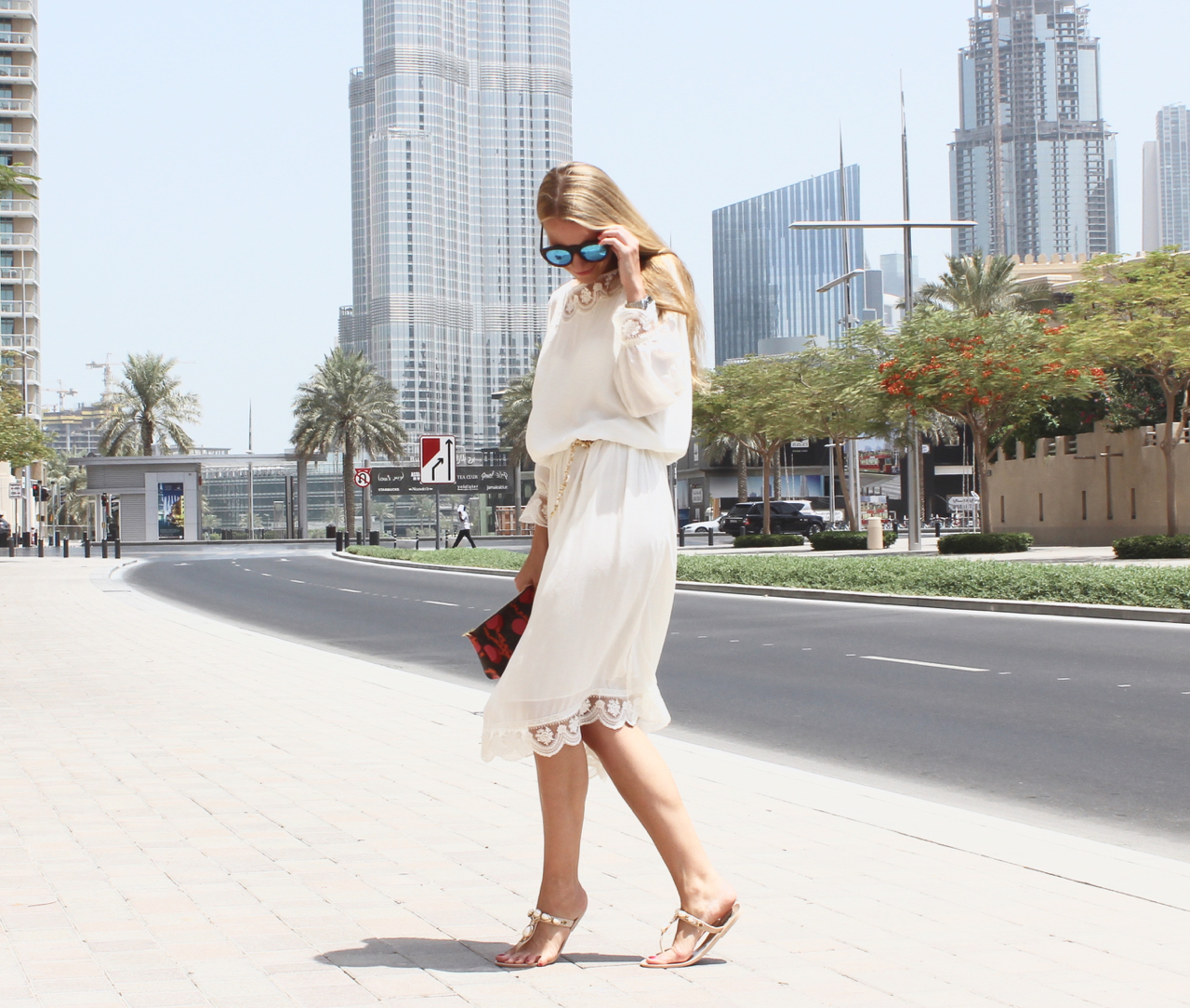 Throwback Outfit Downtown Dubai Jennifer PepperAndGold UAE VAE Emirates Fashion Zara BestSecret LV LouisVuitton